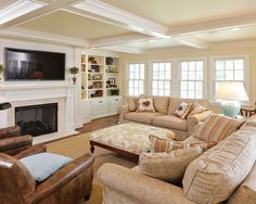 This is the set up I want for living room. Two couches and the chair all facing the fireplace.