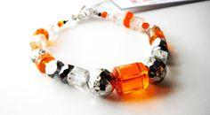 Halloween Bracelet Orange Beaded Bracelet Pewter Silver by mscenna