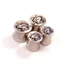 """Octopus 316L Steel Plugs - Double Flared - 2g 0g 00g 7/16"""" (11 mm) 1/2"""" (13mm) 9/16"""" (14mm) 5/8"""" (16mm) Nautical Metal Gauges"""