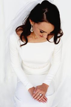 modest wedding dress with long sleeves from alta moda -- (modest bridal gown)