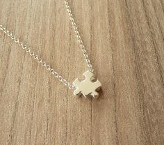 Sterling Silver Puzzle Piece Necklace Gold Puzzle by MONADESING