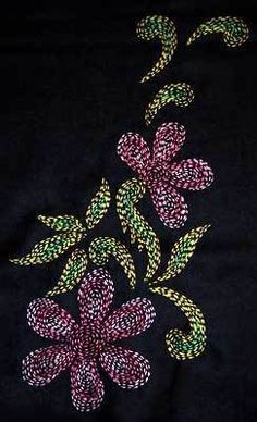 Kantha embroidery is practiced in West Bengal mostly by the rural women. It is a very popular and traditional art and craft form and every woman in Bengal is said to own a few Kantha products, eith… Hand Embroidery Flowers, Indian Embroidery, Embroidery Patches, Hand Embroidery Patterns, Beaded Embroidery, Folk Embroidery, Quilting Patterns, Diy Embroidery For Beginners, Embroidery Techniques