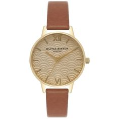 Olivia Burton Scalloped Design Midi Dial Watch - Tan & Gold ($98) ❤ liked on Polyvore featuring jewelry, watches, gold jewelry, yellow gold jewelry, olivia burton, gold wrist watch and gold watches