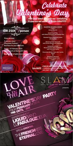 1 more day to Valentine's Day! Celebrate Valentine's Day at Hotel Mercure Jakarta Simatupang on February 14th, 2014. Biztro GRAFFITI presents romantic dinner for couples with a romantic ambience. A Rendezvous at SLAM Skybar & Lounge with Live acoustic band performance and DJ, and get a chance to win great PRIZES!