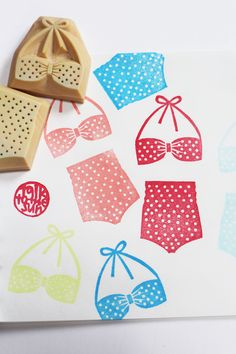 vintage bikini rubber stamp set. hand carved rubber stamp. swimsuit. polka dot. top/shorts. summer craft projects. set of 2. READY TO SHIP on Etsy, $15.30 AUD