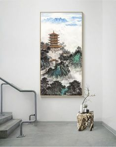 Yellow Crane Tower ink brushwork art print, ink wash Chinese landscape painting, clouds and misty mountains, unframed peaceful scenes art Chinese Landscape Painting, Chinese Painting, Chinese Art, Landscape Paintings, Entryway Wall Decor, Ink Wash, Rice Paper, Custom Art, Crane