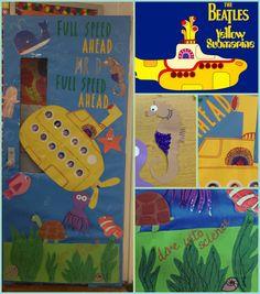 Beatles inspired Yellow Submarine classroom door ; Classroom Setting, Classroom Door, Classroom Themes, Classroom Displays, Bedroom Door Decorations, School Door Decorations, Submarine Craft, Yellow Submarine, Kindergarten Bulletin Boards
