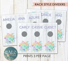 Style Rack Dividers  Succulents Printable
