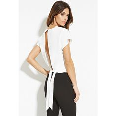 Love 21 Women's  Contemporary Slit Back Top ($18) ❤ liked on Polyvore featuring tops, slit top, white dolman sleeve top, woven top, dolman-sleeve tops and short tops