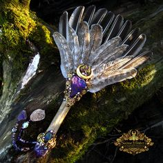 Image of GOLDEN OAKWING - Turkey Feather Smudge Fan Peacock Ore Amethyst Ice Age Bison Fossil Pagan Altar Art
