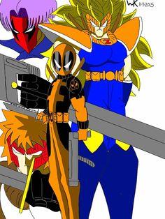 rob liefield's universe/anime universe mash up: goku/prophet(image comics), naruto/deadpool, trunks(dbz)/grifter(wildcats), ichigo kurosaki/shatterstar(x-force)