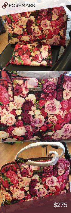 "Kate Spade Wallet & Handbag Roses Kate Spade Authentic Bag & Wallet ""Everything is Coming Up Roses."" kate spade Bags Satchels"