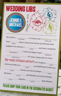 Wedding Mad Libs PDF FILE Print Yourself You Pick the Colors Word Bank Included. $22.00, via Etsy.