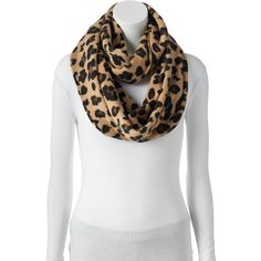 Apt. 9® Leopard Print Knit Infinity Scarf ($32) ❤ liked on Polyvore featuring accessories, scarves, med beige, print scarves, leopard scarves, circle scarf, leopard infinity scarf and knit infinity scarf
