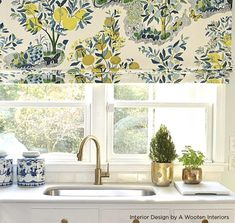 Kitchen Roman Shade in Schumacher Citrus Garden (A Wooten Interiors)