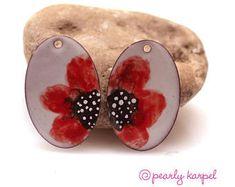 Enameled copper, enameled jewelry, jewelry making, boho earrings, copper jewelry, copper earrings, enameled copper, jewelry component, pair