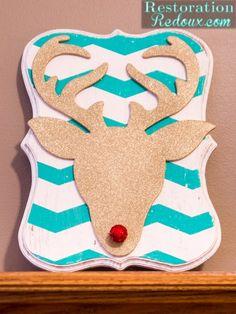 Glitter Deer Head Plaque http://www.restorationredoux.com/secret-santa-blog-tour-glitter-deer-head-plaque-tutorial/