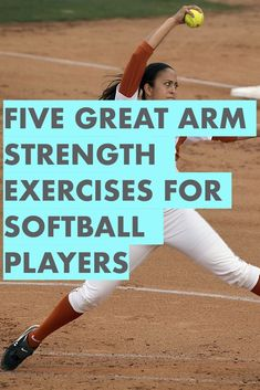 Learn these five strength training exercises for shoulder health, throwing velocity and pitching speed. Any softball player can quickly learn these workouts for softball and improve her game immediately. Softball Workouts, Softball Pitching, Softball Mom, Softball Players, Basketball Games, Basketball Floor, Custom Basketball, Softball Quotes, Softball Stuff