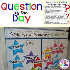 : Question of the Day in a preschool classroom: tips, ticks, and what students are learning. Pocket of Pres Question of the Day in a preschool classroom: tips, ticks, and what students are learning. Pocket of Preschool Preschool Rooms, Preschool Curriculum, Preschool Lessons, Preschool Learning, Kindergarten Classroom, Teaching, Preschool Sign In Ideas, Preschool Procedures, Circle Time Activities