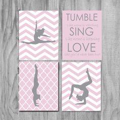 Girls Gymnastics Art, Cute Personalized Gymnastics Gifts and Gymnastics Wall Art- silhouettes- purple