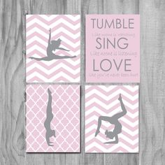 Girls Gymnastics Art, Cute Personalized Gymnastics Gifts and Gymnastics Wall Art- silhouettes- purple