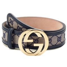 Gold Logo Buckle & Navy Leather Belt by Gucci