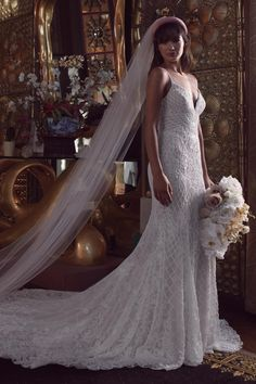 Women's Wtoo Dixie Embellished Lace Trumpet Wedding Dress, Size IN STORE ONLY - Ivory dresses styles trumpet Wtoo Dixie Embellished Lace Trumpet Wedding Dress Beaded Wedding Gowns, Wedding Dress Prices, Cheap Wedding Dress, Wedding Dress Styles, Bridal Gowns, Long Sleeve Wedding, Wedding Dress Sleeves, Trends, Nordstrom Dresses