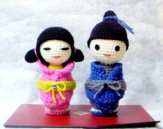 Several  Crochet Kokeshi doll tutorial PDF