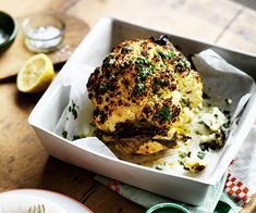 Get ahead with these recipes for whole roasted cauliflower. It's a delicious way to transform the humble vegetable into something special. Whole Roasted Cauliflower, Cauliflower Recipes, Gourmet Recipes, Vegetarian Recipes, Vegetable Salad, Recipe Collection, Food Preparation, Salmon Burgers