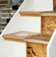 Diy Stair Treads Lovely 23 Pretty Painted Stairs Ideas to Inspire Your Home Of Diy Stair Treads Awesome 166 Secret Stairs No Longer A Secret Tile Stairs, Oak Stairs, Wooden Stairs, Basement Stairs, Indoor Stair Railing, Outdoor Stairs, Diy Stair, Wood Stair Treads, Banisters