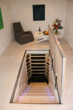 Floor hatch to cellar stairs & With the door to this wine cellar so seamlessly blended into the ... Pezcame.Com