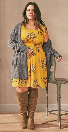 Plus Size Outfit Shop The Look affiliate link big size fashion Mode Outfits, Chic Outfits, Fall Outfits, Floral Outfits, Outfit Winter, Summer Outfits, Fashion Over, Curvy Fashion, Floral Fashion
