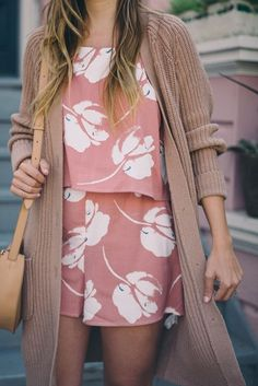 Spring Style // Floral romper and cardigan.