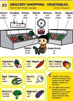 Learning Korean - Grocery Shopping, Vegetables