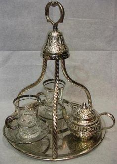 Turkish tea set...My dad was station in Turkey & we bought back many of these in 1971.