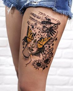 60 Thigh Tattoo Ideas Art And Design 225 Sexiest Thigh Tattoos For Ladies This Year Rawiya . Tree Thigh Tattoo, Animal Thigh Tattoo, Lace Thigh Tattoos, Back Of Thigh Tattoo, Thigh Tattoo Designs, Skull Tattoos, Leg Tattoos, Body Art Tattoos, Cool Tattoos