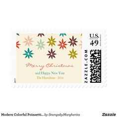 Modern Colorful Poinsettia Christmas Postage