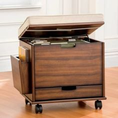 Mobile File Cabinet Seat with Cushion - Storage for Small Spaces