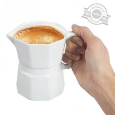 Drink your morning coffee in Moka cup for a unique sensation! This mug for sure will be a great addition to your Moka collection. Coffee Time, Morning Coffee, Kitchen Tools, Kitchen Appliances, Mug Design, Fancy, Coffee Maker, Mugs, Food