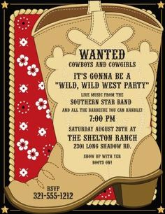 60 Best Cowboy Party Invitations And Printables Images