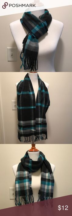 Bass Warm Scarf Plaid printed scarf from Bass. Soft & warm but not a heavy, thick scarf. Bright teal pop of color. As printed on the tag, it's 100% acrylic. Great, new condition. Bass Accessories Scarves & Wraps