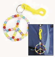 FE Educational Products - Dozen Peace Sign Bag Tag Craft Kits - Includes 12 indiviual kits for a multi-colored bead peace... for only $9.99