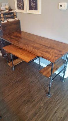 Reclaimed Wood Desk Rustic Desk Industrial Pipe Desk Desk   Etsy Wood Pieces, Home, Reclaimed Wood, Entryway Furniture, Reclaimed Wood Desk, Rustic Desk, Desk Tray, Wood Computer Desk, Industrial Desk