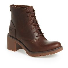 """Timberland 'Averly' Chukka Boot, 2"""" heel ($150) ❤ liked on Polyvore featuring shoes, boots, ankle booties, ankle boots, dark brown, short lace up boots, leather lace up booties, lace up boots and leather bootie"""