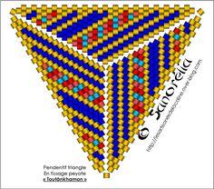 Peyote triangle pattern - Tutankhamun - pendant