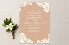 Lace and Kraft Wedding Invitations by Katharine Watson at minted.com