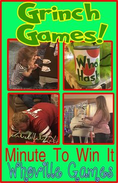 Grinch Minute to Win it Whoville games.  This is a great game to play with adults or with children.