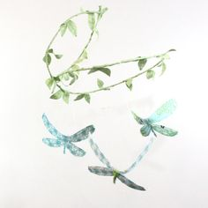 """3 dragonflies dream of spring - fabric mobile in tiffany blue, aqua, mint green, white, grass green by """"babyjivesco"""" on etsy"""