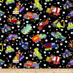 Designed by Sue Marsh for RJR Fabrics, this cotton print fabric features playful trucks cruising around with their friends. Perfect for quilting, apparel and home decor accents. Colors include black, white, grey, red, golden orange, orange, burnt orange, yellow, purple, light purple and shades of blue and green.