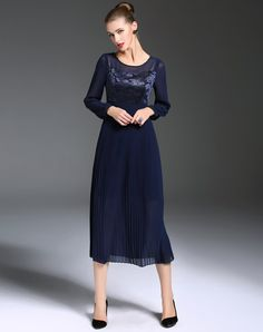 """Check the details and price of this Blue Illusion Yoke Lace Pleated Maxi Dress (Blue, GYALWANA) and buy it online. www.vipme.com/ offers high-quality A-Line Dresses at affordable price.  (As someone who remembers the 60s and early 70s, I get a laugh out of what is considered to be a """"maxi"""" dress today.)"""